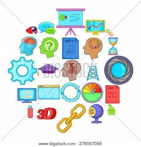 Progress Icons Set. Cartoon Set Of 25 Progress Icons For Web Isolated On White Background