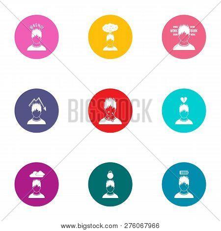 Attitude Icons Set. Flat Set Of 9 Attitude Icons For Web Isolated On White Background
