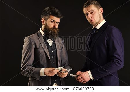 Meeting Of Reputable Businessmen, Black Background. Man With Beard On Serious Face Counting Money, P