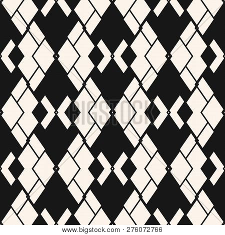 Argyle Pattern. Vector Abstract Geometric Seamless Texture. Black And White Ornamental Texture With