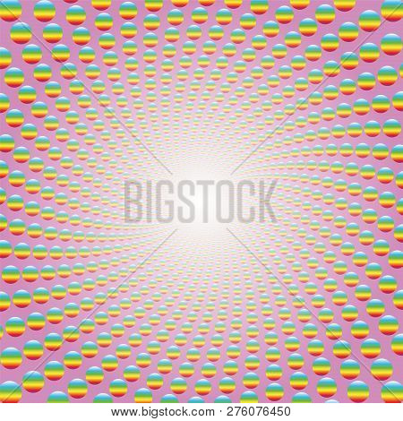 Rainbow Colored Balls Forming A Spiral On Pink Background With Bright White Center. Twisted Circular