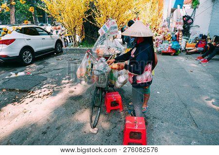 Ho Chi Minh City, Vietnam - 02 2018: Vietnamese Sandwich Or Banh Mi Thit Sell On Street. Stock Photo