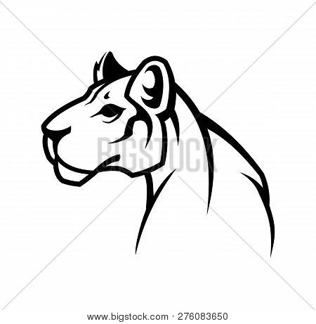 Panther Outline Silhouette. Puma Or Lioness Icon