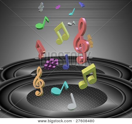 Music notes and speakers