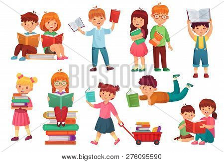 Kids Read Book. Happy Kid Reading Books, Girl And Boy Learning Together And Young Students Isolated
