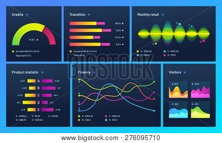 Infographic Dashboard. Finance Data Analytic Charts, Trade Statistic Graph And Modern Business Chart