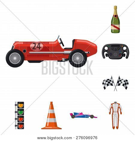 Isolated Object Of Car And Rally Icon. Collection Of Car And Race Stock Vector Illustration.