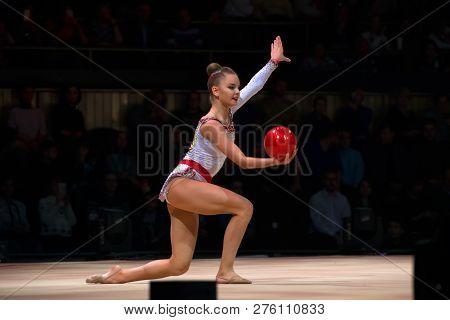 Moscow, Russia - November 16-17, 2018: Dina Averina, Multiple Rhythmic Gymnastics Champion At The