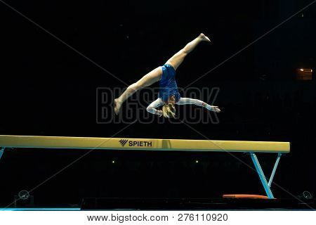 Moscow, Russia - November 16-17, 2018: Maria Kharenkova, Multiple Gymnastics Champion At The