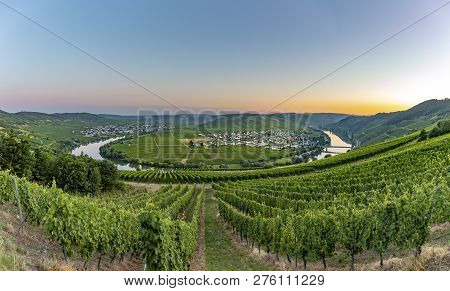 Famous Moselle Sinuosity At  Leiwen Called Zummet Hights In Morning Light