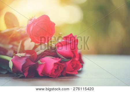 Red Rose Flower Bouquet Pink And Red Roses Love On Wooden Table Nature Background Valentines Day For