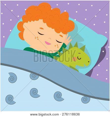 Cute boy sleeping with dino toy. Cartoon kid in bed having sweet dreams. Baby bedtime poster