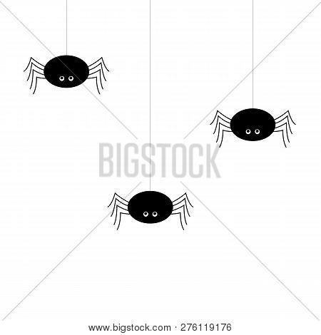 Simple Vector Of A Black Spiders Hanging By A Thread.