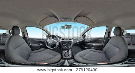 Full Seamless Panorama 360 Degrees Angle View In Interior Fabric Salon Of Prestige Modern Car. 360 P