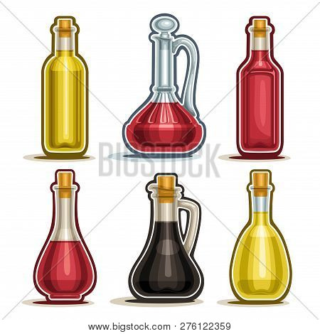 Vector Set Of Isolated Bottles, 6 Cut Out Outline Containers With Gourmet Vinegar, Healthy Apple Cid