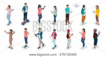 Trendy Isometric People And Gadgets, Teenagers, Young People, Students, Using Hi Tech Technology, Mo