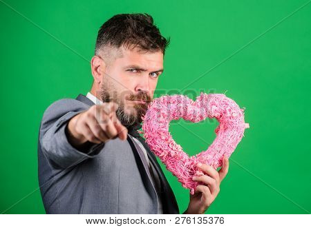 Happy Valentines Day. Hipster Hold Heart Symbol Love. Bring Love To Family Holiday. Romantic Surpris