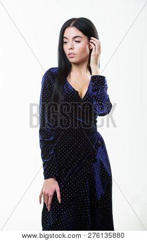 Fashion Concept. Woman Dress Polka Dot Pattern. Woman Elegant Lady With Makeup Long Hair Wear Velvet