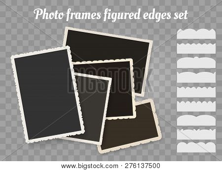 Old Photo Edges. Vintage Snapshot Or Retro Photography Figured Edge Frames Vector Illustration