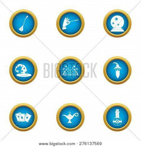 Fortuneteller Icons Set. Flat Set Of 9 Fortuneteller Icons For Web Isolated On White Background