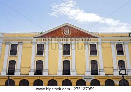 San Juan, Puerto Rico -august 4, 2018: the Tapia Theater Is The Oldest Permanent Theater Of Puerto
