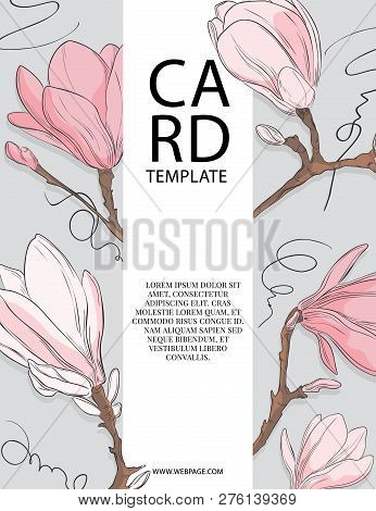 Floral Wedding Invitation Card Template Design With White And Pink Magnolia Flowers. Spring Card Tem