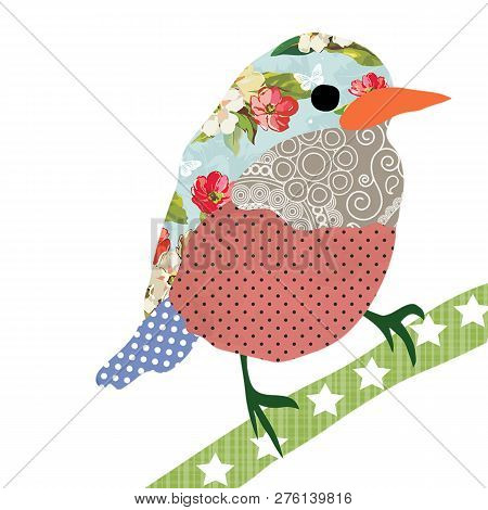 Collage Style Bird. Patchwork Sparrow Illustration. For Feminine Home Decor, Women, Girls, Stickers,