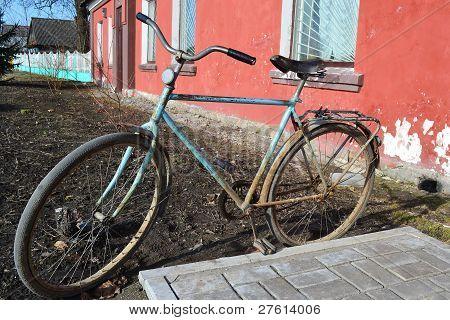 The photo of retro bike in Turov Belarus poster