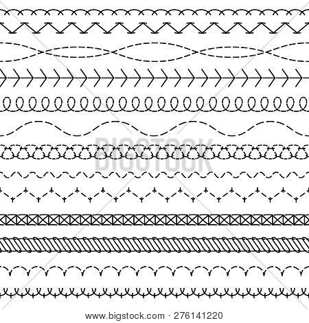 Stitch Lines. Stitched Seamless Pattern Threading Borders Sewing Stripe Fabric Thread Zigzag Edges S