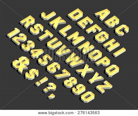 Alphabet. Alphabet Letters And Numbers. Vector Alphabetic Letters And Numbers. 3d Modern Alphabet. V