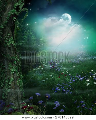 Enchanting Fairy Forest Opening At Night And Full Moon, 3d Render Illustration