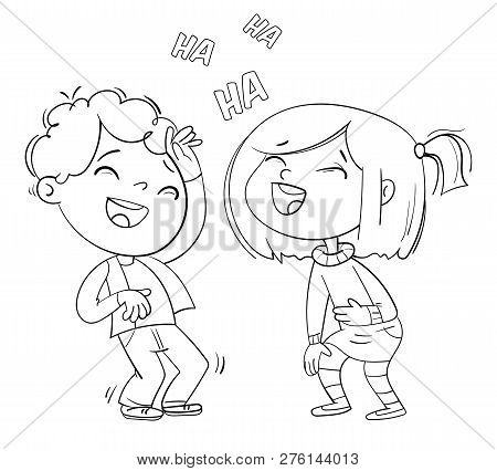 Children Laugh Fun. Funny Cartoon Character. Vector Illustration. Isolated On White Background. Colo