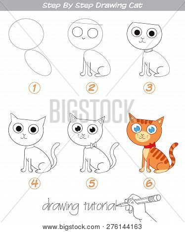 Drawing Tutorial. Step By Step Drawing Cat. Easy To Drawing Cat For Children. Funny Cartoon Characte