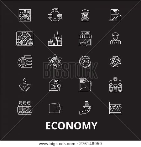 Economy Editable Line Icons Vector Set On Black Background. Economy White Outline Illustrations, Sig