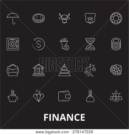 Finance Editable Line Icons Vector Set On Black Background. Finance White Outline Illustrations, Sig