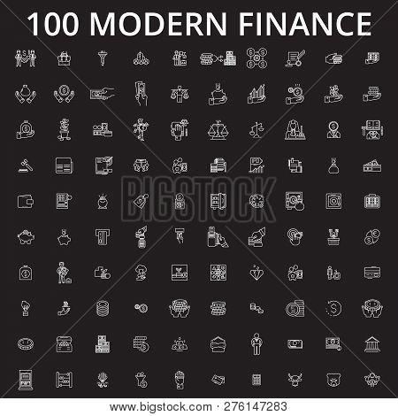 Finance Icons Editable Line Icons Vector Set On Black Background. Finance Icons White Outline Illust