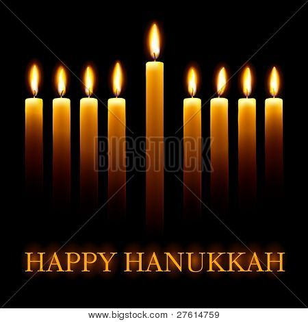 Vector Happy Hanukkah greeting card with candles on black background. poster