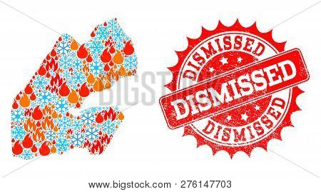 Composition Of Winter And Fire Map Of Djibouti And Dismissed Grunge Stamp Seal. Mosaic Vector Map Of