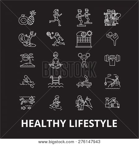 Healthy Lifestyle Editable Line Icons Vector Set On Black Background. Healthy Lifestyle White Outlin