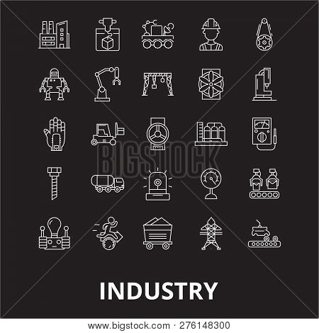 Industry Editable Line Icons Vector Set On Black Background. Industry White Outline Illustrations, S