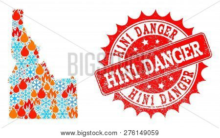 Composition Of Winter And Fire Map Of Idaho State And H1n1 Danger Grunge Stamp Seal. Mosaic Vector M