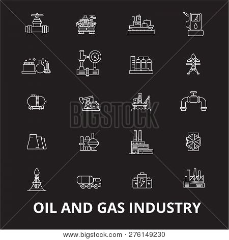 Oil And Gas Industry Editable Line Icons Vector Set On Black Background. Oil And Gas Industry White