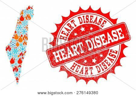 Composition Of Snowflake And Fire Map Of Israel And Heart Disease Grunge Stamp Seal. Mosaic Vector M