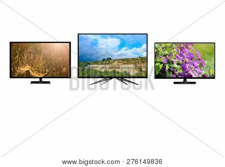 Television Monitors Isolated On White Background. Tv Monitors Showing Images Of Nature. 4k Monitor I