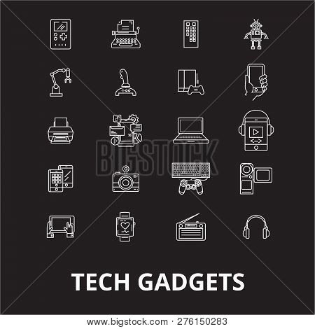 Tech Gadgets Editable Line Icons Vector Set On Black Background. Tech Gadgets White Outline Illustra