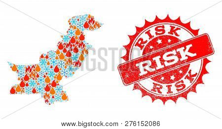 Composition Of Winter And Fire Map Of Pakistan And Risk Grunge Stamp Seal. Mosaic Vector Map Of Paki