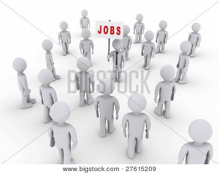 People Attracted By Job Sign