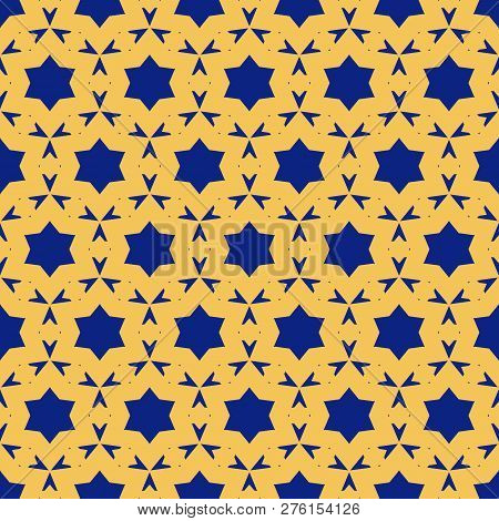 Vector Ornamental Seamless Pattern. Simple Texture With Stars, Floral Shapes, Small Triangles, Delic