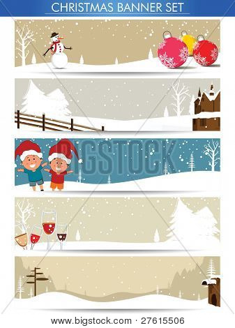 Mega set of Christmas banners with Santa, snowman, Christmas balls for Winter, Christmas & other occasions.