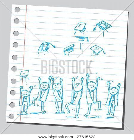 Group of graduates tossing caps
